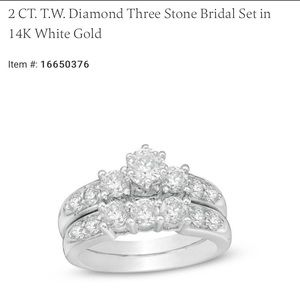 Zales 2 CT. T.W.  Diamond Three Stone Bridal Set